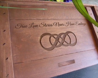 Wedding Wine Box, Wine Box, Custom Wine Box, Engraved Wine Box, Love Letter Box, Infinity Symbol Box, Infinity Knot Wine Box, Custom