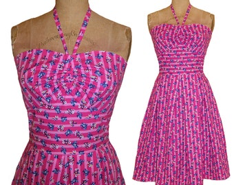 SALE! 1940s Style Fuchsia with Cotton Candy Pink Stripes Halter Dress Made from Vintage Pattern XS Small Ready to Ship