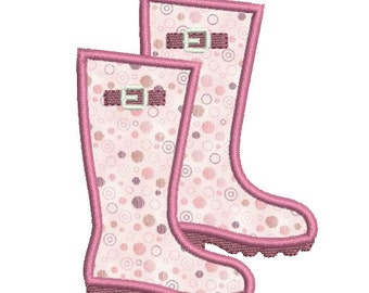 Instant download Applique rain boot embroidery design