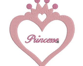 Instant download machine embroidery design frame heart princess