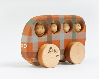 Personalized Wooden Toy School Bus, Vehicle Kids toy, Wood Toy