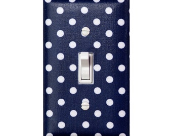 Nautical Light Switch Plate Cover / Navy Blue Polka Dot Baby Girl Nursery Decor / By Slightly Smitten Kitten