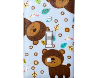 SALE Bear Light Switch Plate Cover / Baby Boy Nursery Decor / Woddland Animals Kids Room / Fun the Bear Allover Bears Blue