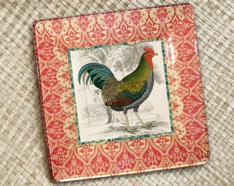 Rooster decor / decoupage plate / wall hanging / farmhouse decor / rooster art / kitchen decor / red kitchen / country kitchen