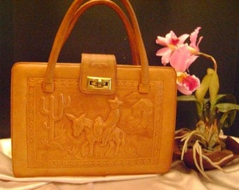 SALE, was 195. Vingtage Mexican tooled leather handbag.