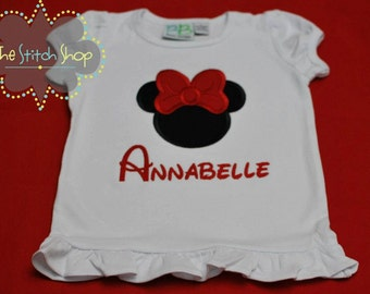 Minnie Monogrammed and Appliqued Shirt