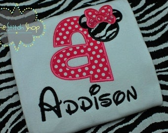 Minnie Appliqued and Monogrammed  Shirt