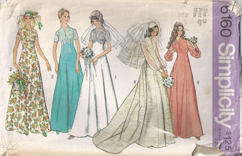 Plus Size 18 Wedding Dress Vintage Sewing Pattern 1973