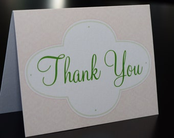 Pink and Green Thank You cards - Dozen (12) cards printed on metallic paper