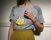 Art deco inspired geometric hand embroidered pendant necklace in beautiful yellow and grays modern jewelry MADE TO ORDER