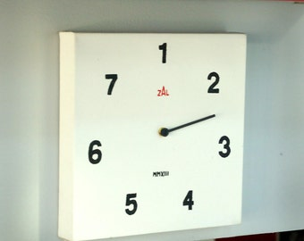 CLOCK, Day of the week, 7 day wall Clock, Functional. Oil on canvas.