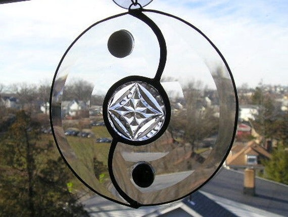 Yin Yang Suncatcher  - Stained Glass - Beveled Glass - Glass Gems - Handcrafted - Made in USA