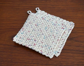 Crochet Dishcloth or Washcloth - 100% Cotton, Set of Two