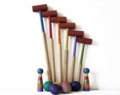 Lovely vintage MINI FRENCH Table CROQUET wooden  game in its original wooden box