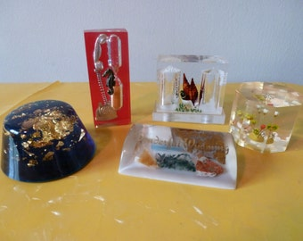 Vintage Collection of Lucite Paperweights Salt and Pepper Shaker Hourglass Timer
