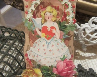 ON SALE Vintage Valentine Valentines Day...German Stand Up Card...Roses