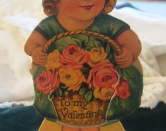 Vintage Valentine Valentines Day...LIttle Girl with Roses Stand Up Card