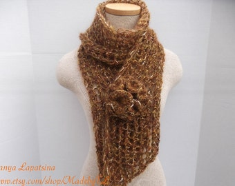 Clearance. Elegant Long Mohair Scarf, Hand Knit Brown Scarf, Mohair Lurex Scarf
