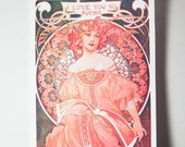 "The Original ""I Love You So Mucha"" Valentine's Day Card featuring Alphonse Mucha Artwork"