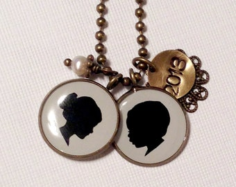 Two Large Custom Child Silhouette pendants in brass with stamped tag & pearl