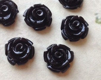 10 mm Black Color Garden Rose Resin Flower Cabochons (.tc)