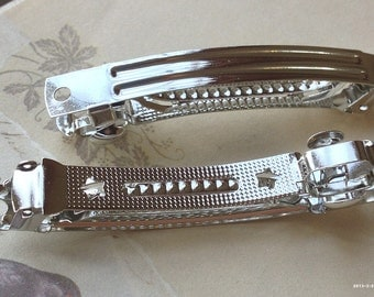 9 x 80 mm Silver Plated French Barrette Hair Clip Findings (.ng)