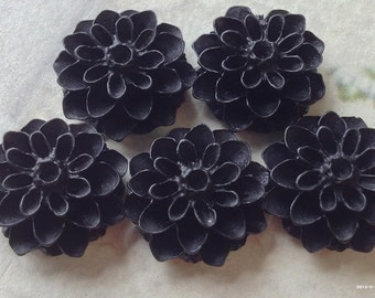 16 mm Black Colour Resin Dahlia Flower Cabochons (.am)