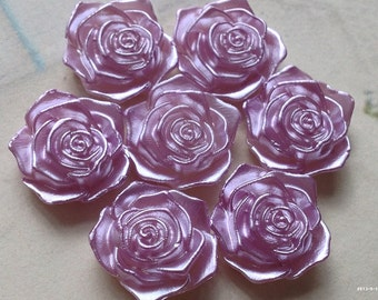 17 mm Shiny Light Purple Acrylic Rose Cabochons(.tm)