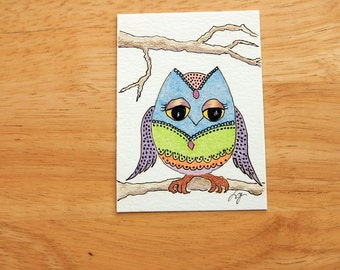 OWL ACEO - Original Art, Colored Pencil and Ink Owl Drawing, Artist Trading Card, Miniature Art