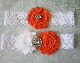 Orange & White Wedding Garter Set - Choose Rhinestone or Pearl