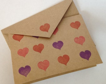 Checkered Hearts - Pink, Purple & Red - Set of 3 Cards