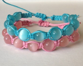 Pastel Pink or Aqua Cat Eye Beads on Waxed Cotton Beacelet