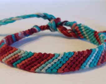 Teal & Maroon Ombré Stripes - Friendship Bracelet