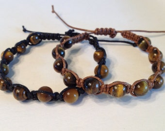 Tigereye Stone Beads on Brown or Black Waxed Cotton Bracelet