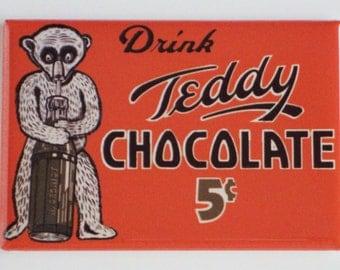 Teddy Chocolate Soda Sign Fridge Magnet