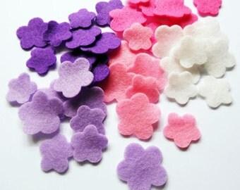 Felt flower Shapes, set of 60 pieces
