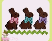 Chocolate bunny trio applique embroidery design