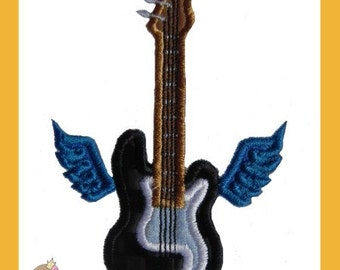 Guitar with wings applique design