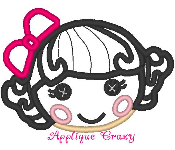 Doll Face Applique design (black hair with pink bow)