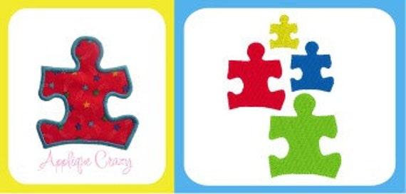 Autism awareness applique & embroidery design