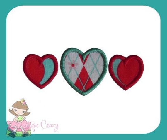 Heart trio Applique Embroidery file