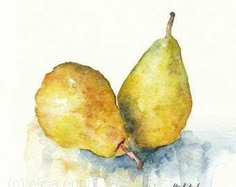 Golden Yellow Pears, Fine Art Giclee Print, watercolor painting, 8x8, fruit, kitchen, home decor, watercolor pears