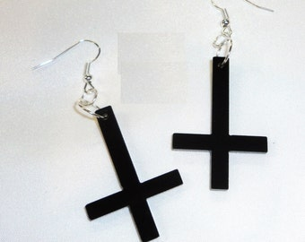 BLACK INVERTED CROSS Acrylic Earrings Punk Emo Steam