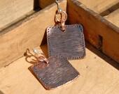 Earrings Fun Square Copper Textured Earrings Cool Earrings