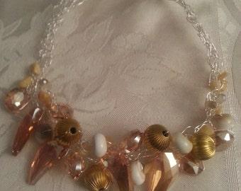 silver goldie wire crochet necklace