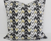 Decorative Chevron Pillow Cover, Waverly Fabrics, Living Color, Black, Grey, Tan, Nightfall, 16 x 16