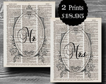 wedding mr mrs typography book page dictionary print set poster art black white 8x10 home decor gift