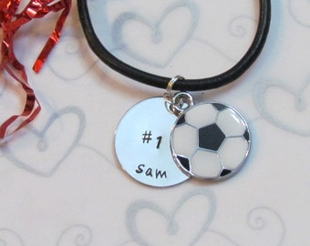 SOCCER Necklace -Personalized Necklace - Hand Stamped Jewelry Girls or Boys- Leather Necklace