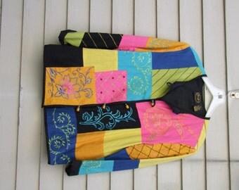 Vintage Embroidered Color Block jacket ala 1990s