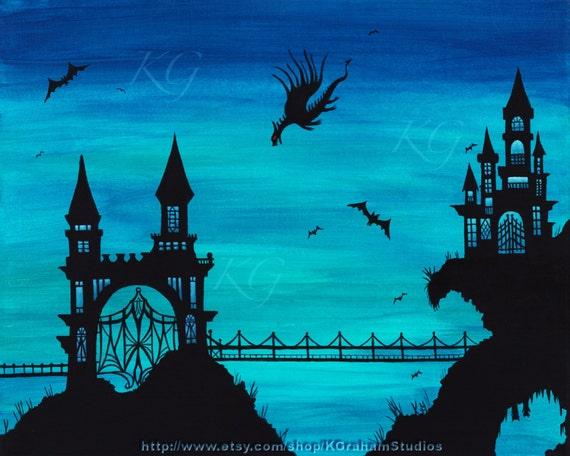 8x10 Photographic Print CASTLE  DRAGON Ornate Gothic Castle & Draw Bridge Fantasy Halloween Art by K Graham Surreal Blue Green Sky With Bats